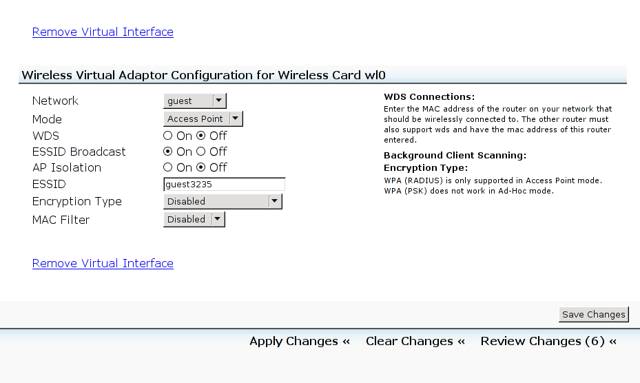 Configuring the new virtual wireless adaptor
