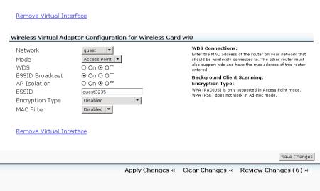 Configuring the new virtual wireless adaptor