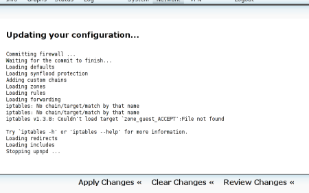 A bad run of updating the firewall.  You need to log-in an hand edit the config files.
