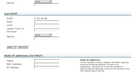 The link for adding DHCP for the guest network is buried between the wan DHCP and the Static IP configurations