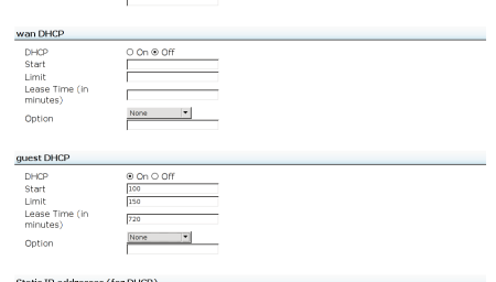 The settings for guest DHCP
