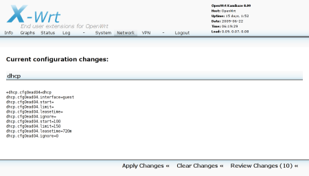 The DHCP settings to apply