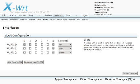 The Interfaces sub-tab, after adding VLAN 2